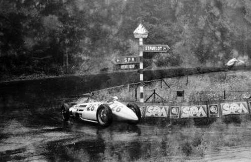 Dick Seaman in the wet at Spa, before the crash.