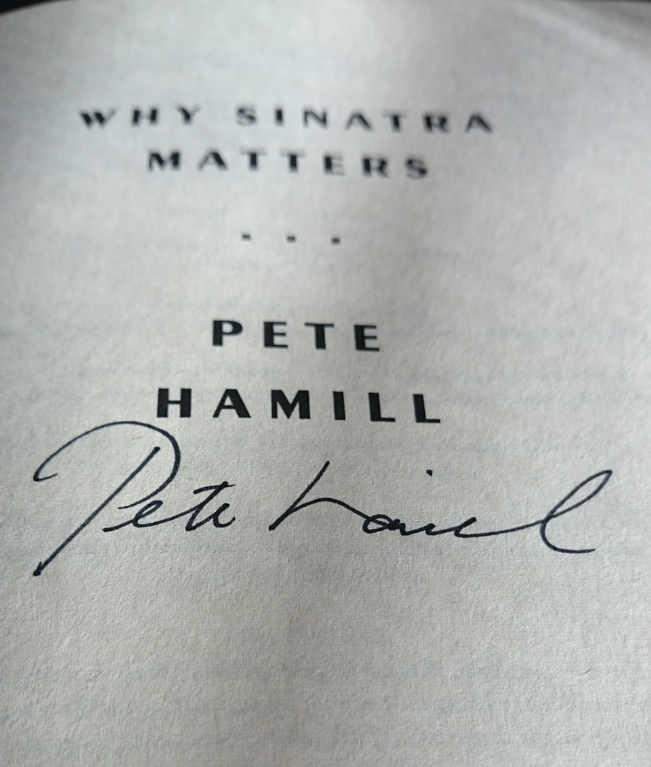 Thanks for the autograph Pete.