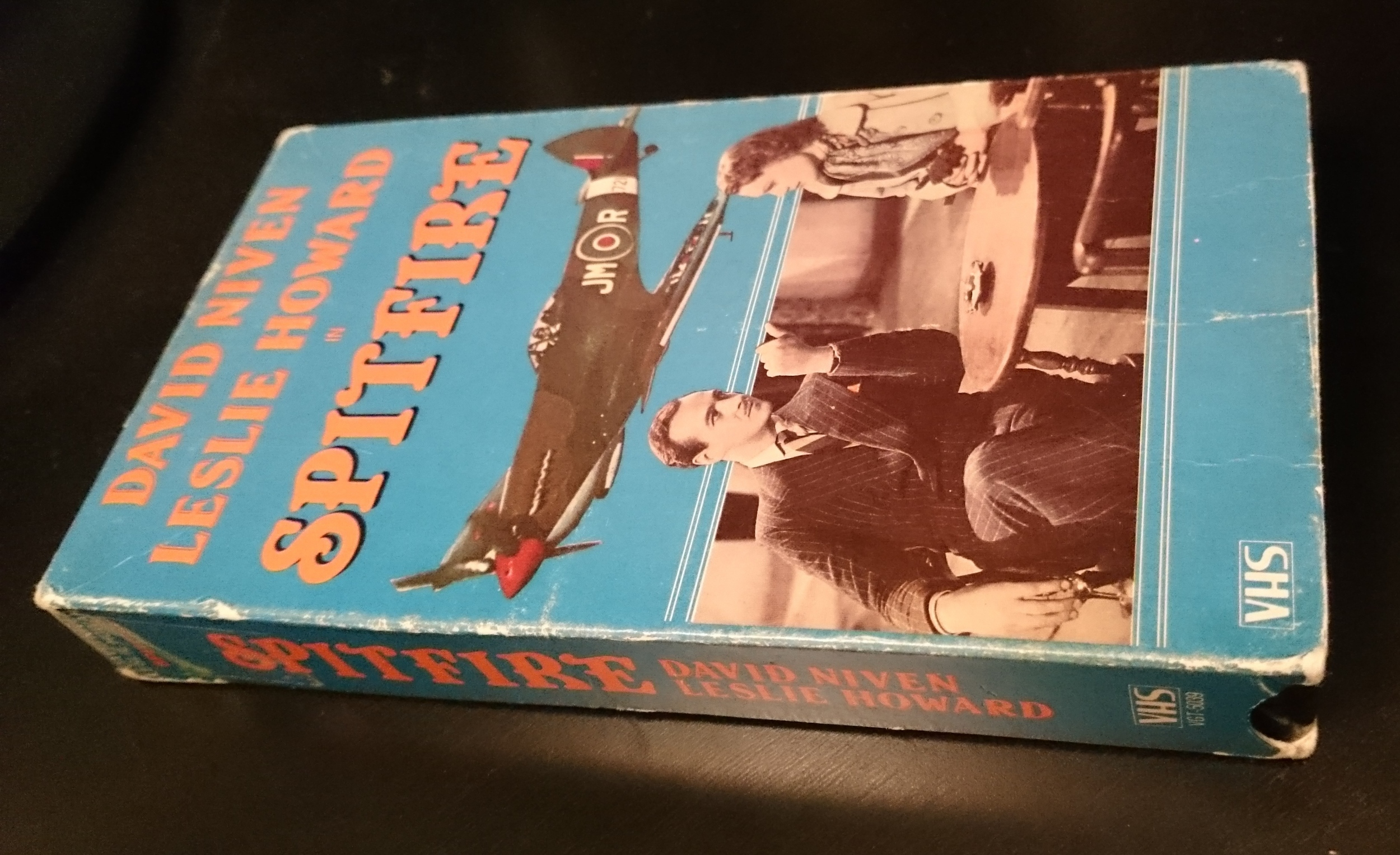 My beaten up old VHS copy of  Spitfire . Note the top billing for David Niven.