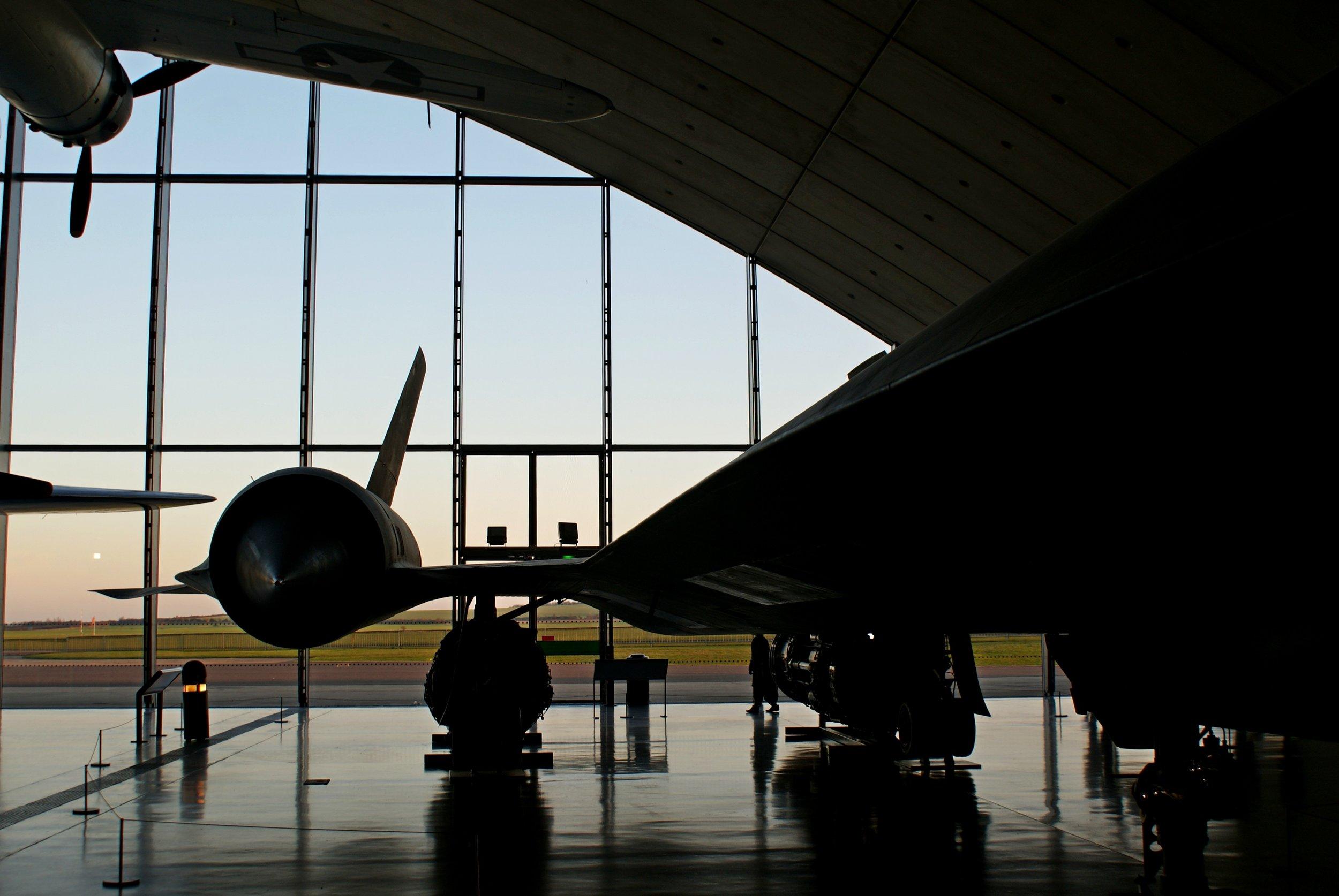 My photo of SR-71 Blackbird 962 at sunset in the American Muesum at IWM Duxford