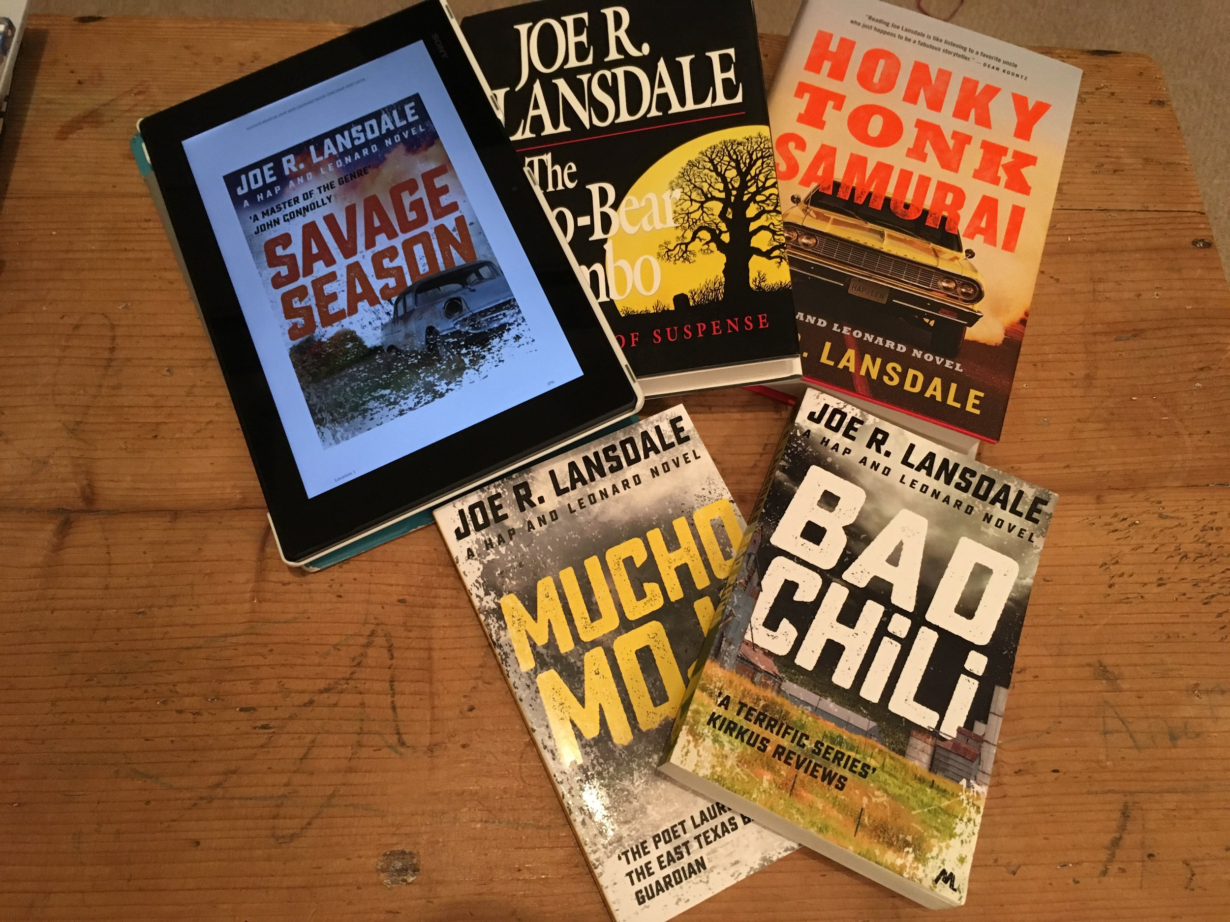 A few of the novels that were handy.
