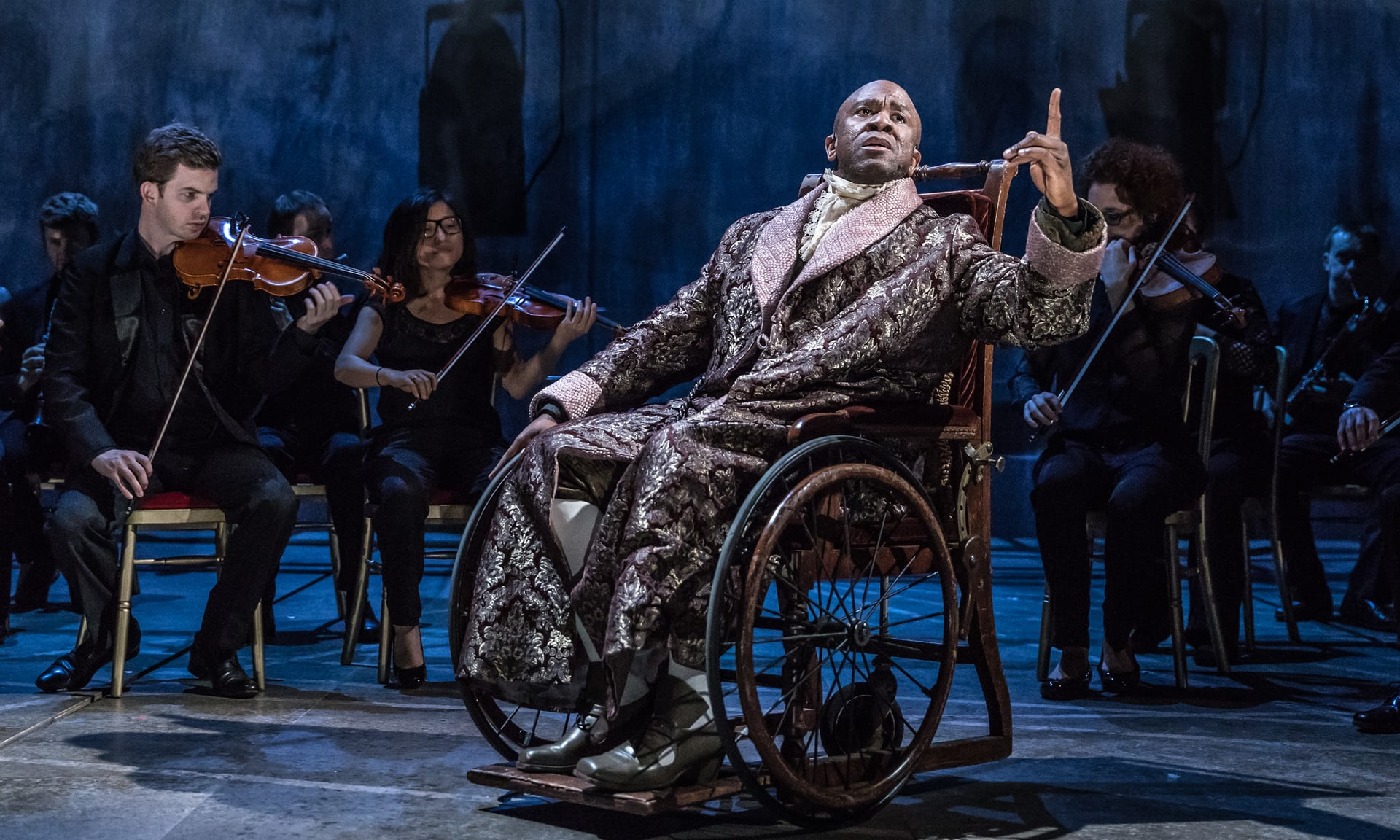 Lucian Msamati as Antonio Salieri. Photo Credit: Marc Brenner/NT