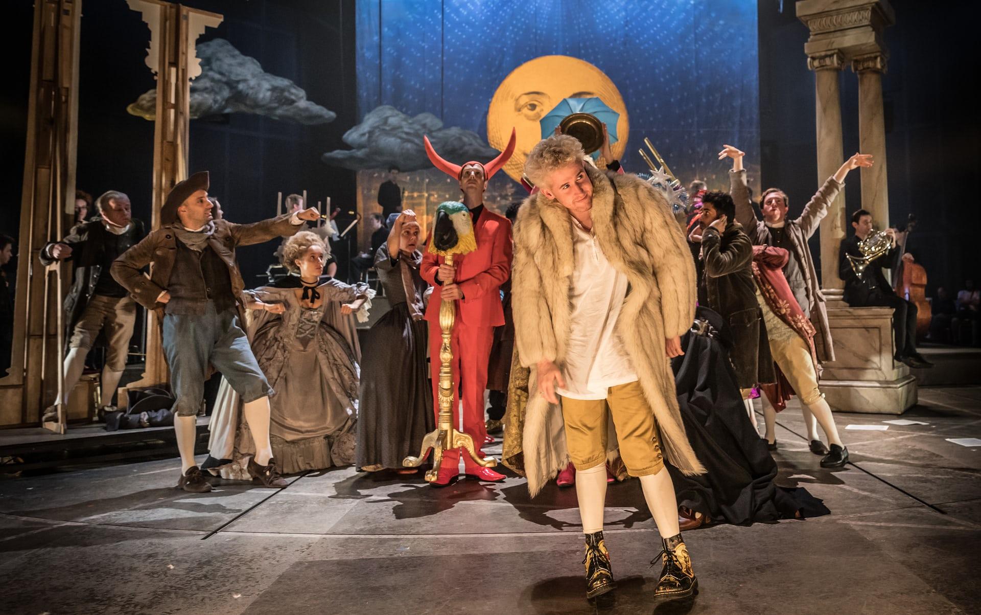 Adam Gillen as Mozart. Photo Credit:Marc Brenner/NT