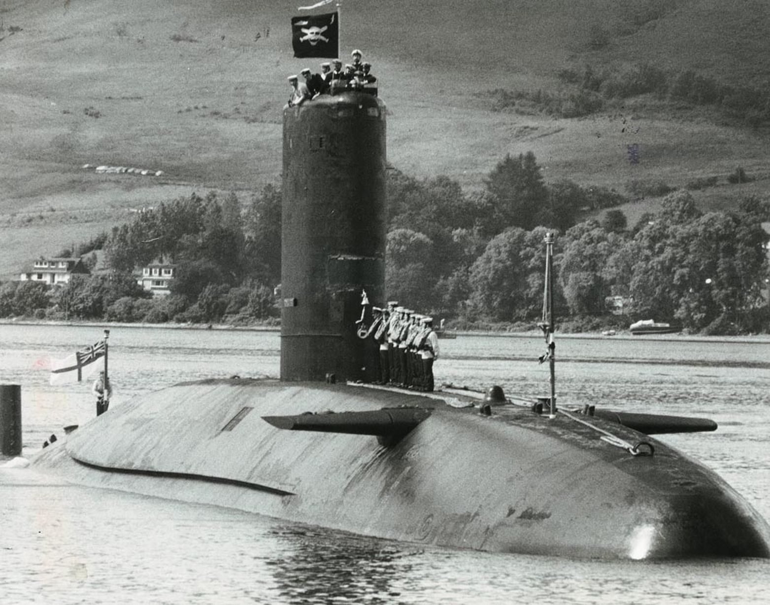HMS  Conqueror  flying the Jolly Roger on return from the Falklands in 1982