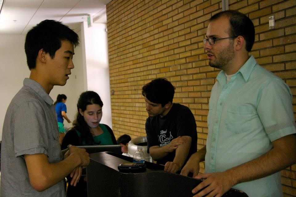 Instructors Peter Van Elyswk and Stephen Babb meet with students during Socrates Hours.