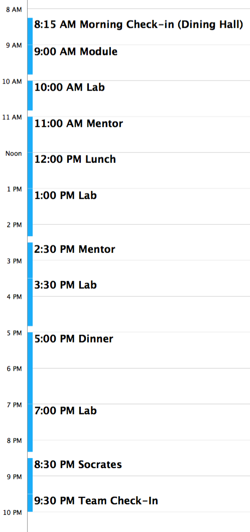click the image to see an example of a day's schedule