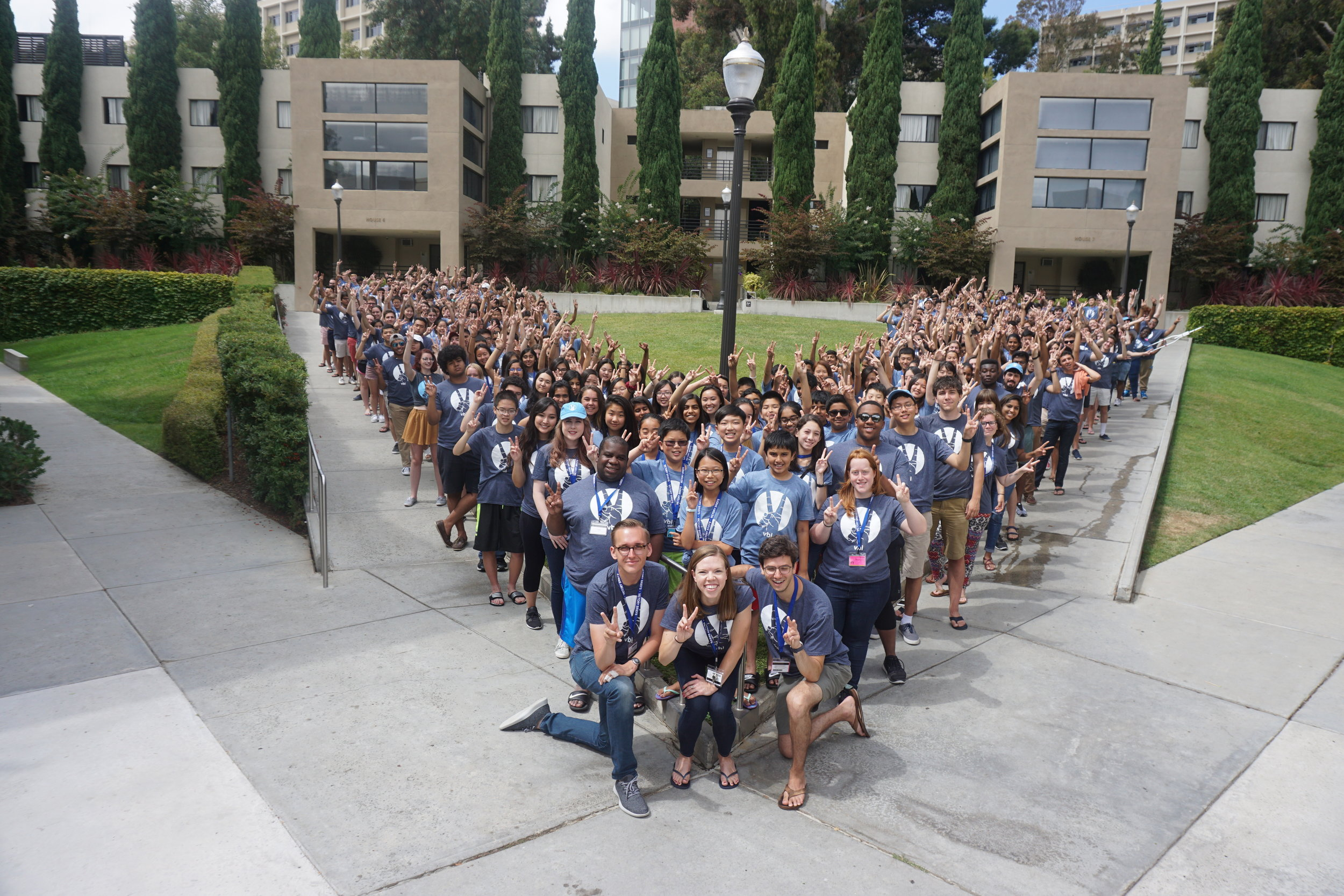 VBI staff and students pose outside of dorms at UCLA in 2017