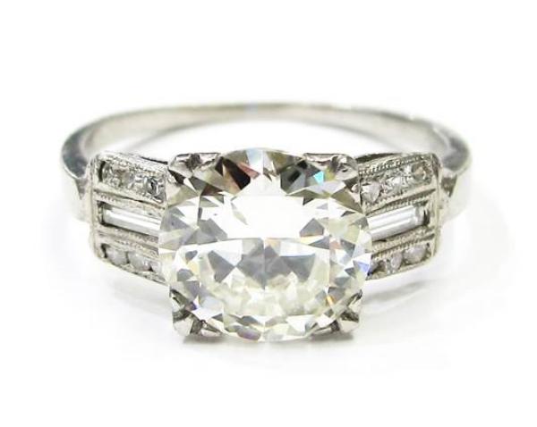 2.15ct EGL certified I-J color, VS2 clarity Old European cut diamond in platinum