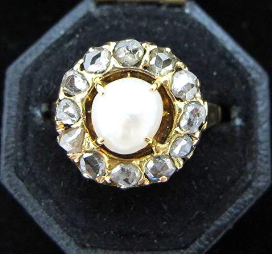 Natural pearl, rose cut diamond and 14K gold Victorian ring, at Gray & Davis