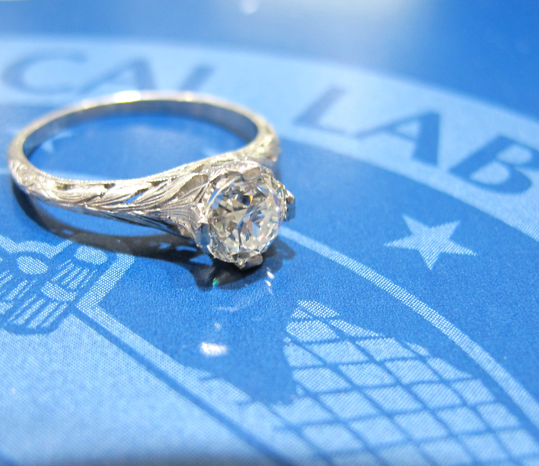 Platinum ring with EGL certified .69ct H color, VS2 clarity old European cut diamond. Early 20th century, available at the shop!