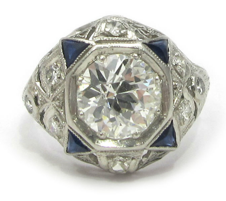 Art Deco platinum and 1.54ct diamond ring, EGL certified, with calibre cut sapphires and single cut diamond accents, at Gray & Davis.