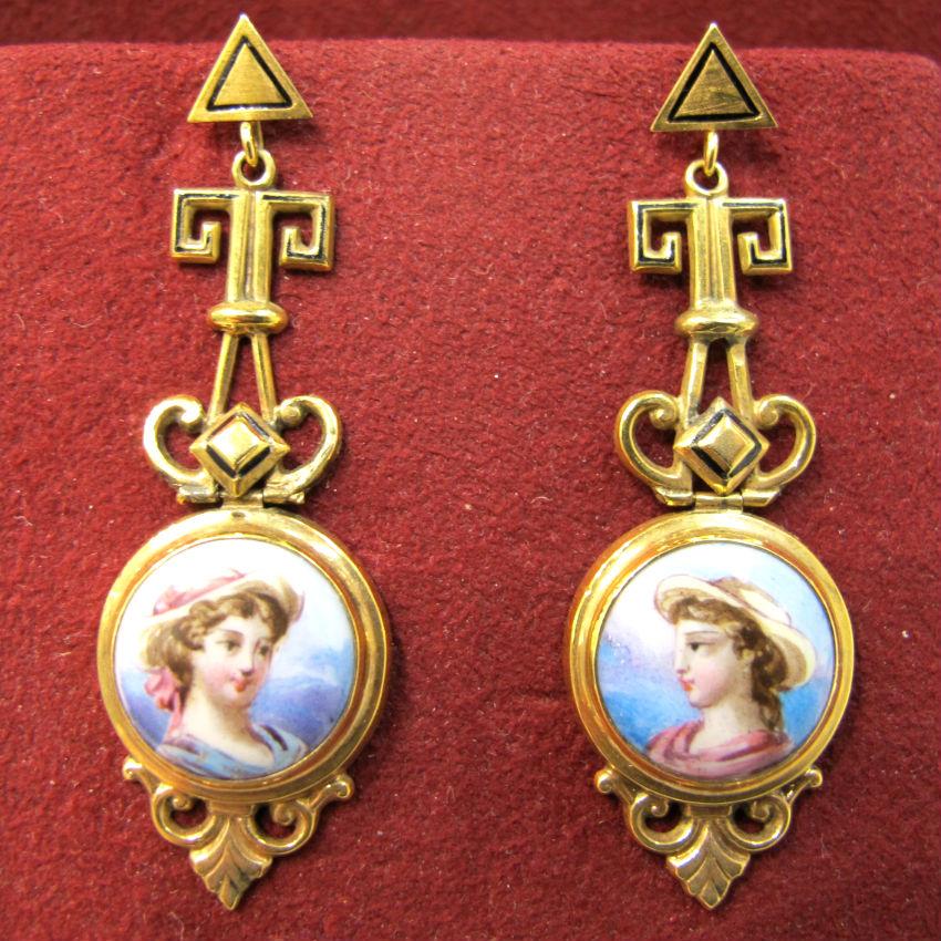 Victorian 18k gold and Swiss enamel dangling portrait earrings, at Gray & Davis.