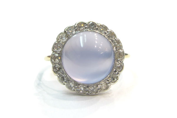 Early 20th c. 14k gold, blue chalcedony and diamond cluster ring, at G & D