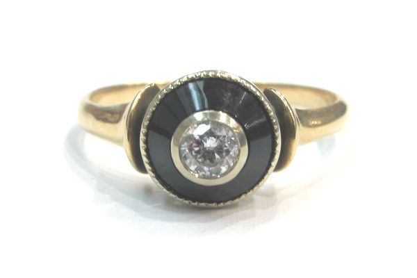 Victorian 10k gold, diamond and onyx ring, at G & D