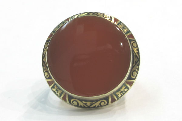 Arts and Crafts 14k gold and carnelian ring with enamel, at G & D