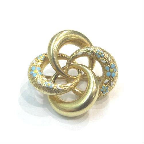 Art Nouveau 14k gold pin with enamel. Krementz maker's mark. At Gray & Davis.