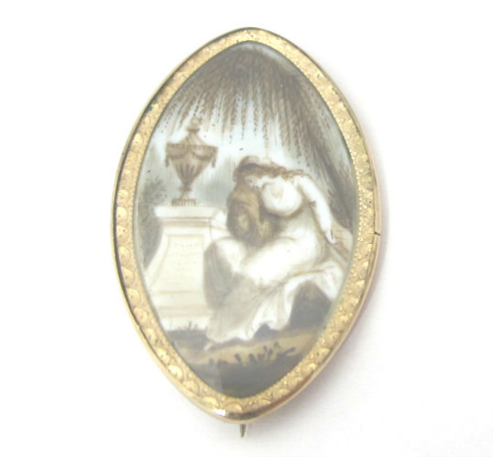 Painted Georgian gold mourning brooch, at Gray & Davis