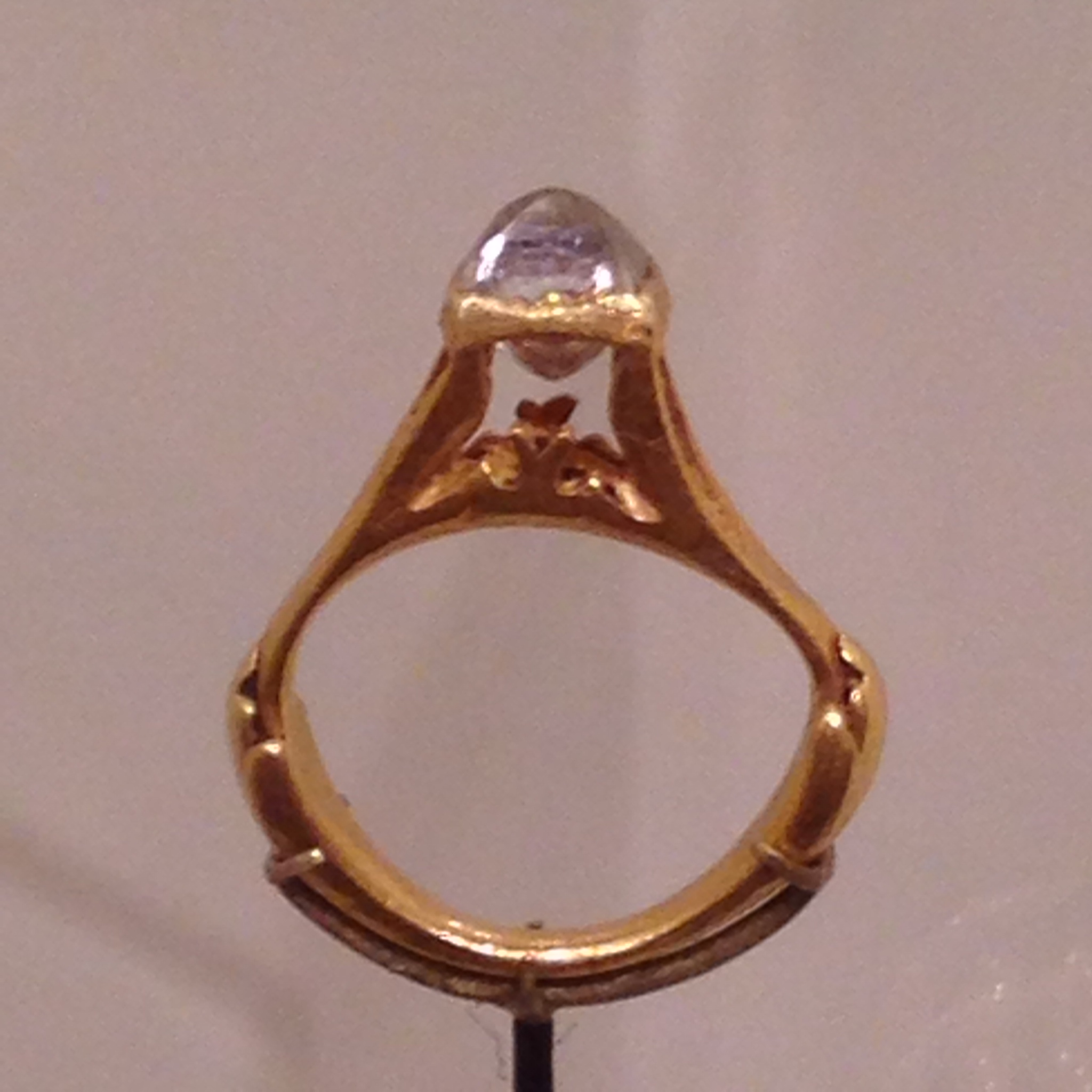 Roman octahedral diamond ring; Roman Empire, 3rd-4th century AD.