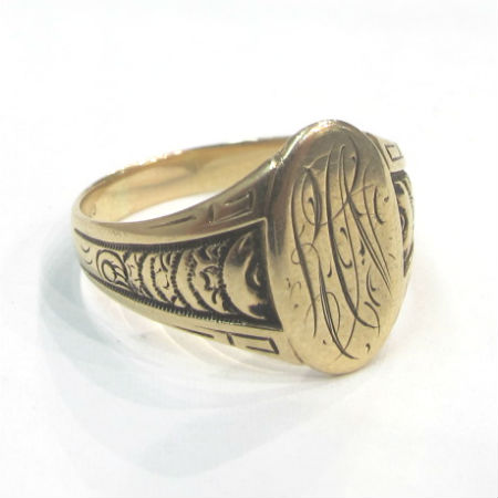 "Late Victorian 14k gold signet ring with monogram ""RCN,"" at Gray & Davis."