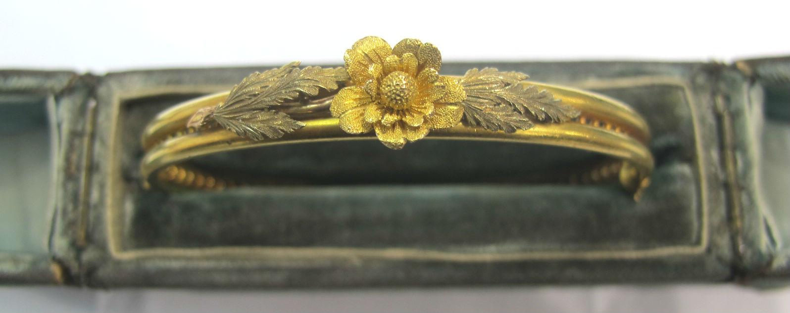 Victorian 18k yellow gold bangle bracelet, available at Gray & Davis.