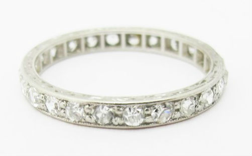 Art Deco platinum eternity band, available in our  online shop .