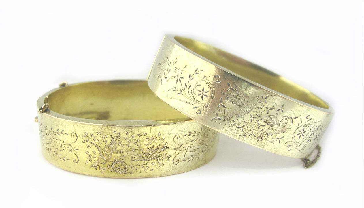 Victorian 14k gold bracelet pair, available in our  online shop .