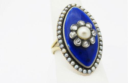 Georgian Enamel, pearl and rose cut diamond ring, at Gray & Davis.