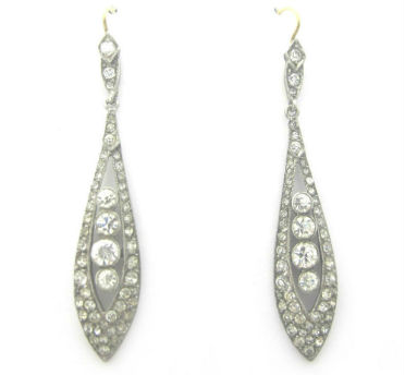 Edwardian paste dangle earrings, silver on 14k gold, available in our  online shop .