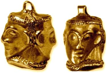 A double-face gold pendant, 4th/3rd Century BC.History Museum of Schumen, Bulgaria.