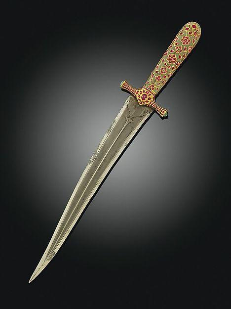 Dagger, c.1620. Steel, Jade, Rubies & Gold