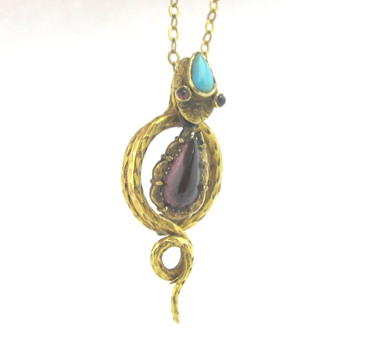 14k gold, garnet and turquoise pendant, formerly an antique stick pin.