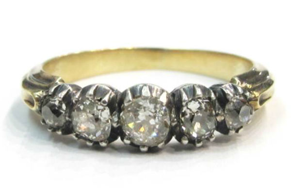 Georgian five old mine cut diamond ring in silver and 18k gold, at Gray & Davis.