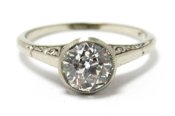 Art Deco 1.04ct old European cut diamond ring in 18k white gold, at Gray & Davis.