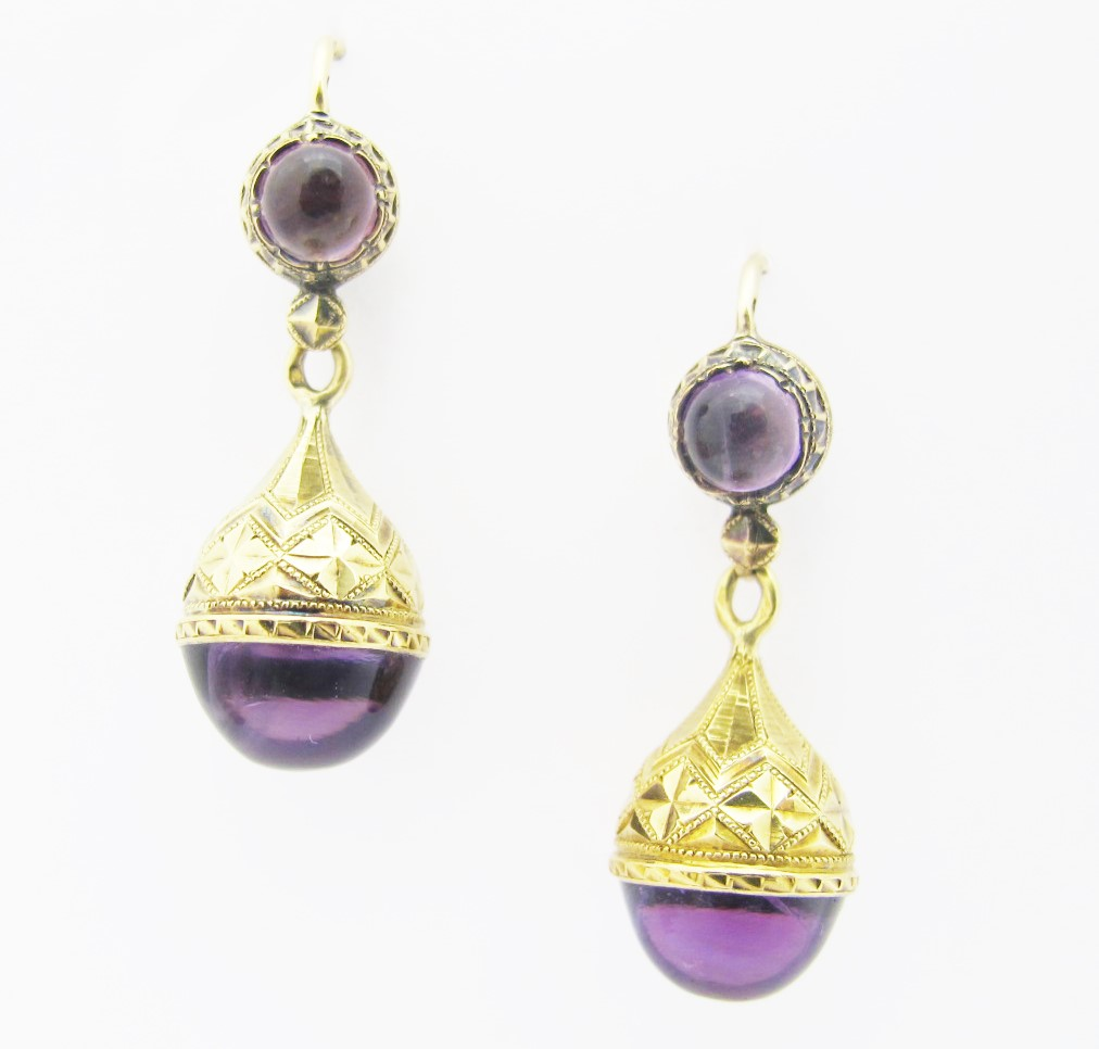 Amethyst earrings in 18k yellow gold,French marks c. 19th century. Available at our 47th street shop!
