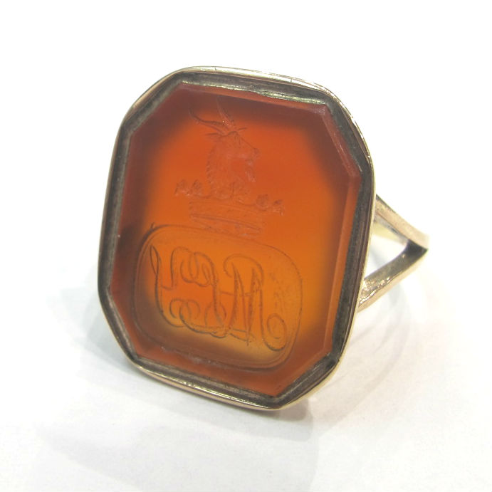 Victorian 14k or 15k gold sealing ring with carnelian intaglio of a goat, at Gray & Davis.