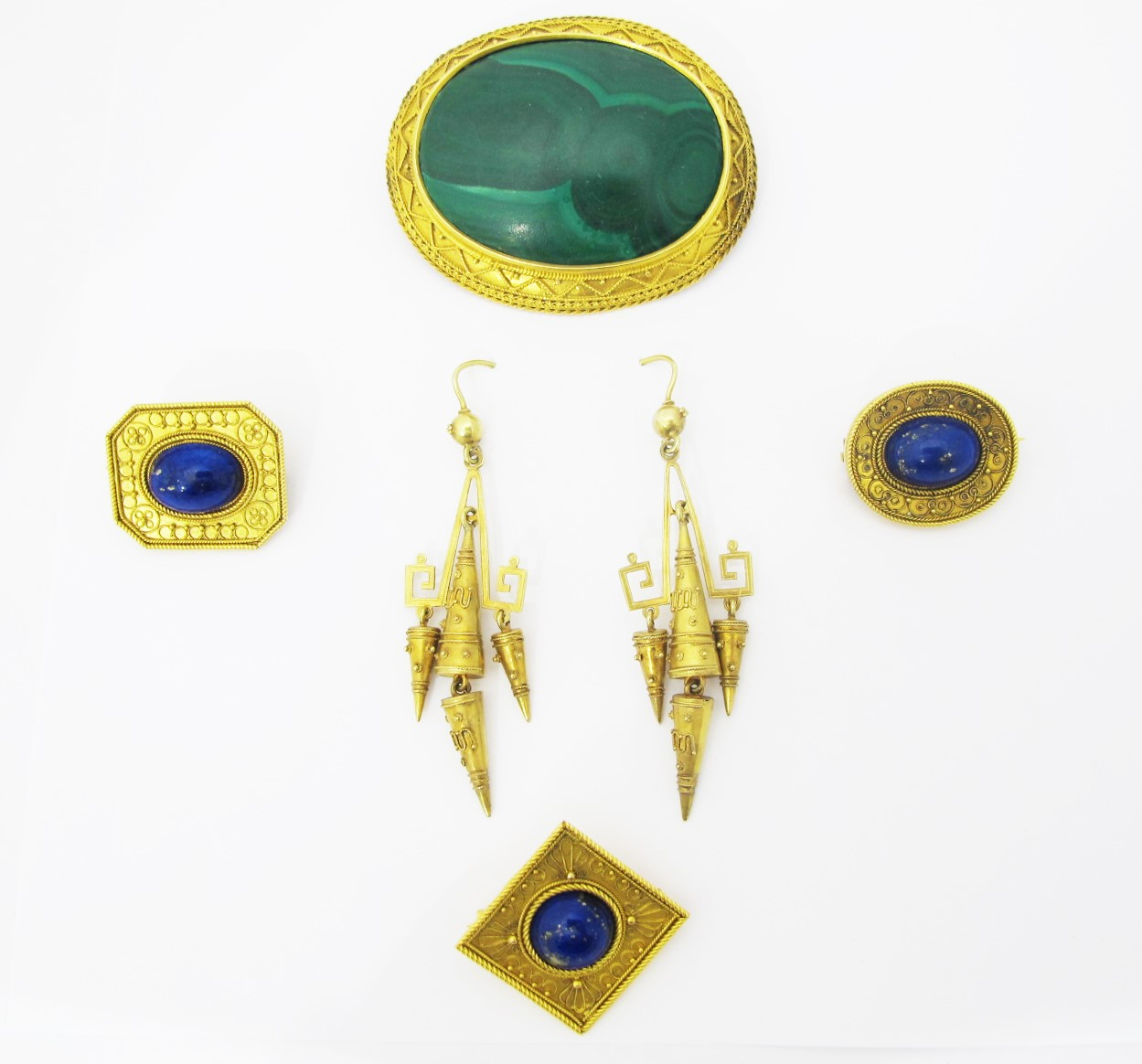 Etruscan Revival brooches and earrings, gold, malachite and lapis. Nineteenth Century. All available for sale at Gray & Davis.