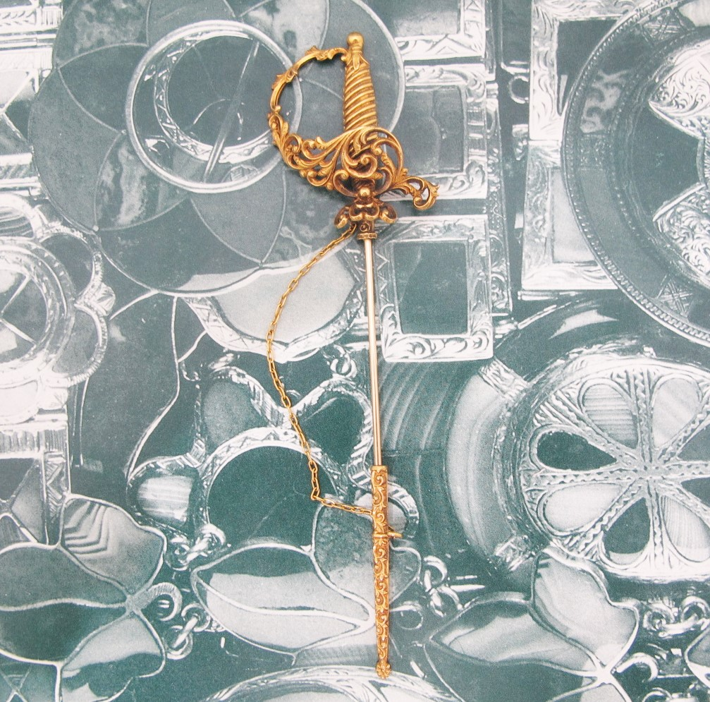 Victorian Sword Jabot Pin in 14k yellow gold. Available at Gray & Davis