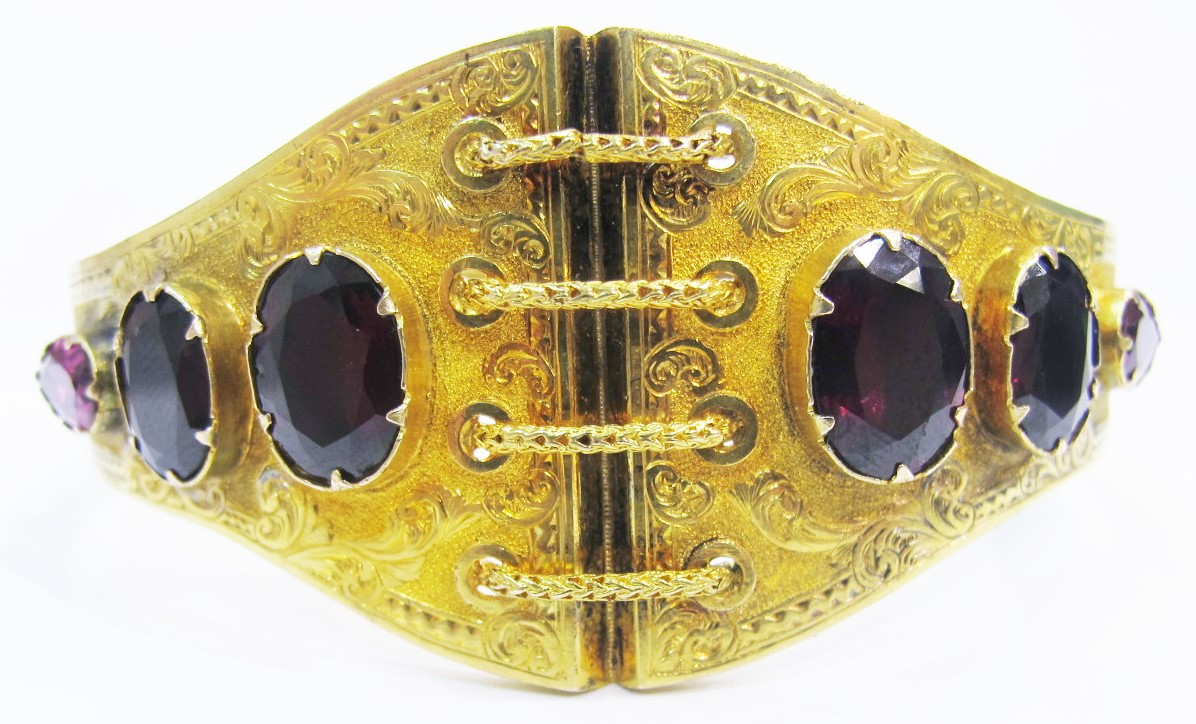 "15k & garnet Victorian ""corset"" bangle."