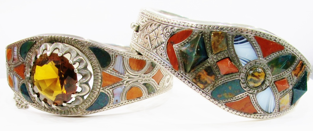 Two hinged bangles in silver, Scottish agate and cairngorn. c. mid-nineteenth century. Currently available at Gray & Davis.