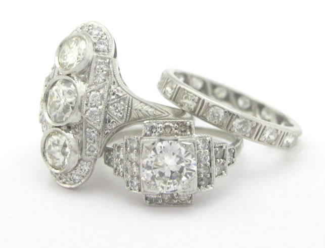 Selection of Deco diamond rings from the Gray & Davis archives.