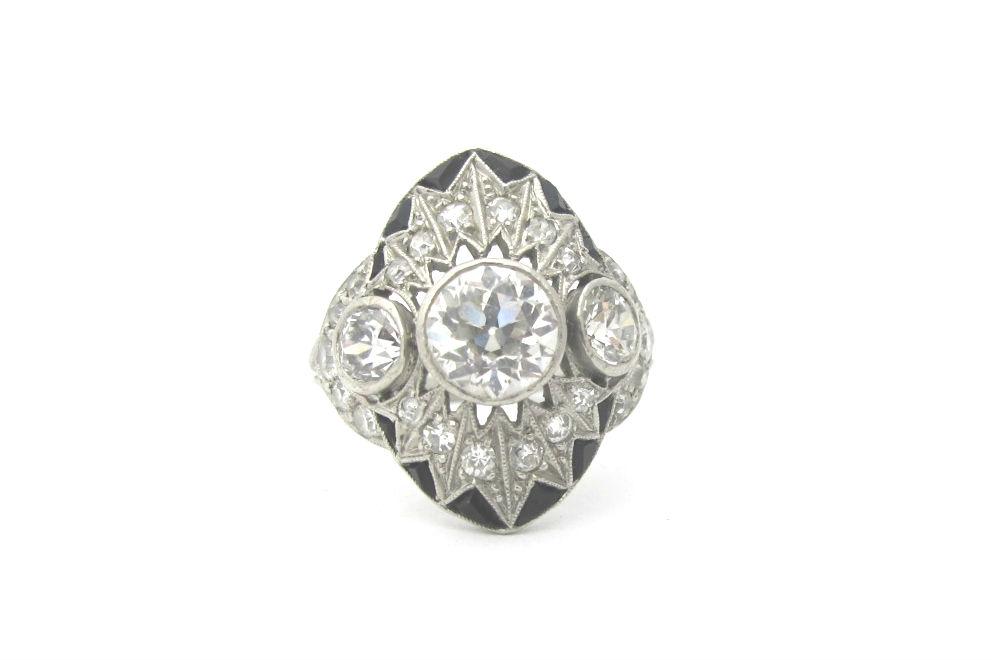 Platinum Diamond and Onyx ring, c.1914