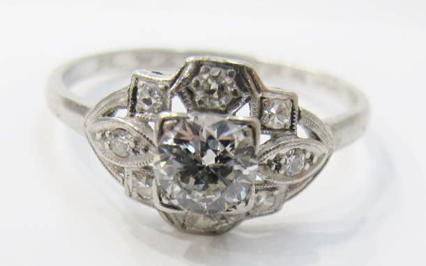 Platinum and diamond engagement ring, c.1935