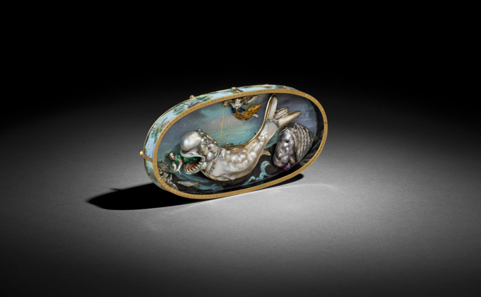 Jonah and the Whale casket. Strasbourg, c. 1640 -1660. Signed P. Crispin. Enameled gold, baroque pearls diamonds, rubies, pyrite, silver. From Galerie J. Kugel.