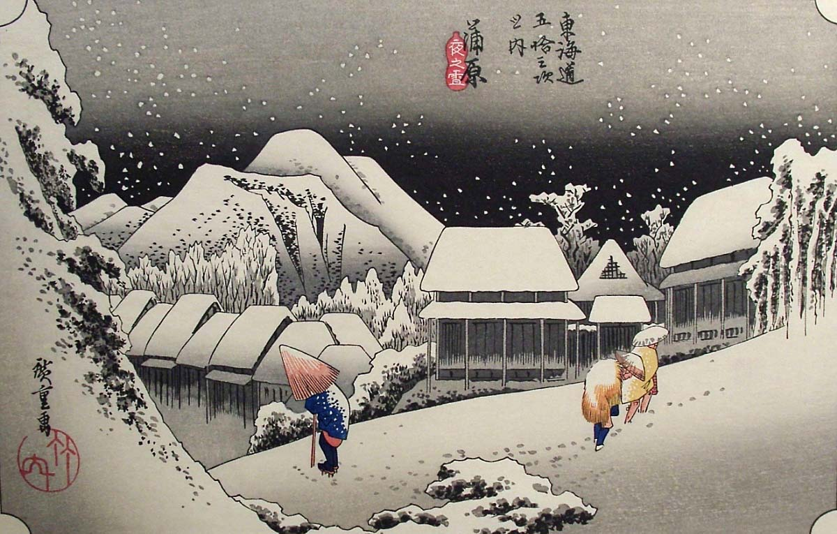 'Evening Snow at Kambara' by Utagawa Hiroshige, woodblock c. 1834.