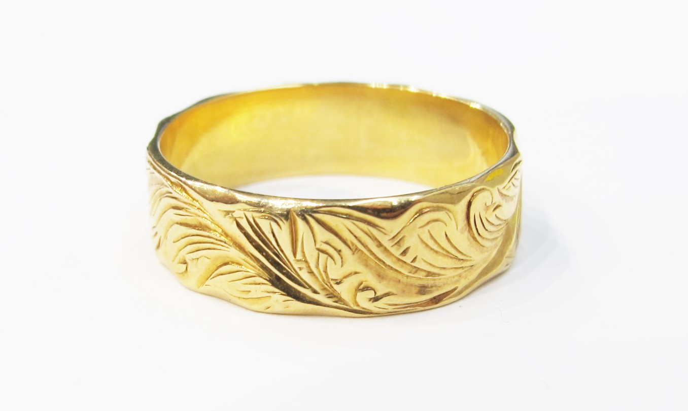 Antique French wedding ring with engraved fern motif, c. 1900.