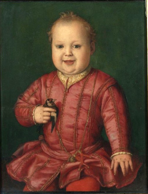 Giovani D'Medici wearing a coral branch amulet, painted by Agnolo Bronzino c. 1545.
