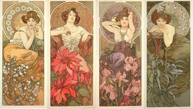The Precious Stones : Topaz, Ruby, Amethyst & Emerald. By Alphonse Mucha, 1900.