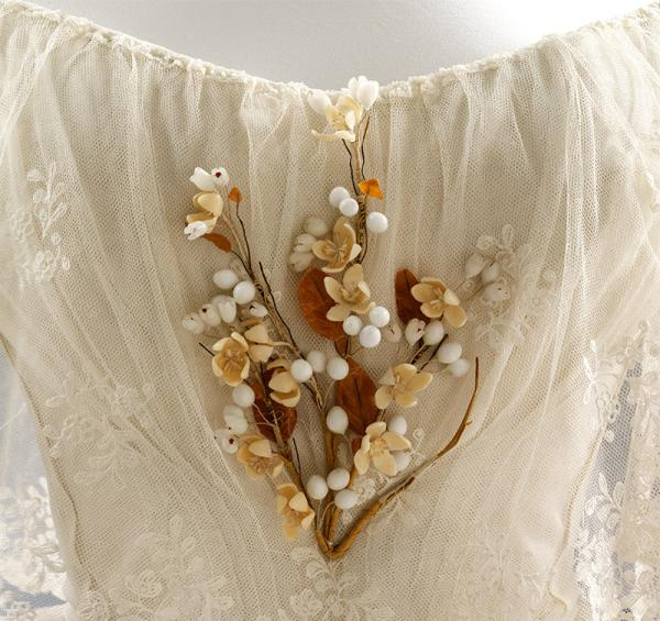 Artificial orange blossoms worn by Henrietta Woodcock at her wedding in 1848. Victoria & Albert Museum.