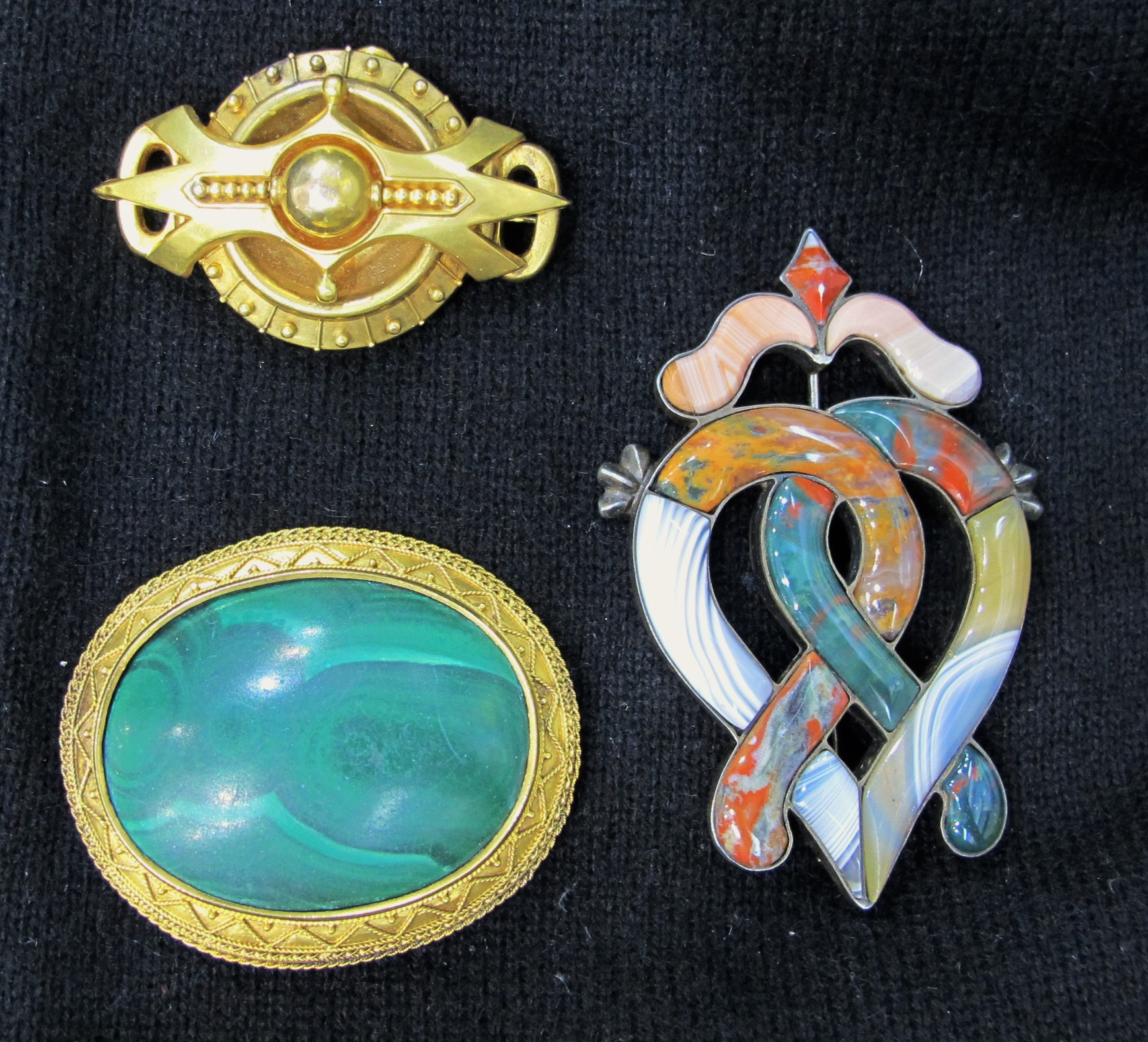 Assortment of Victorian gold & gemstone brooches, all currently available at Gray & Davis.