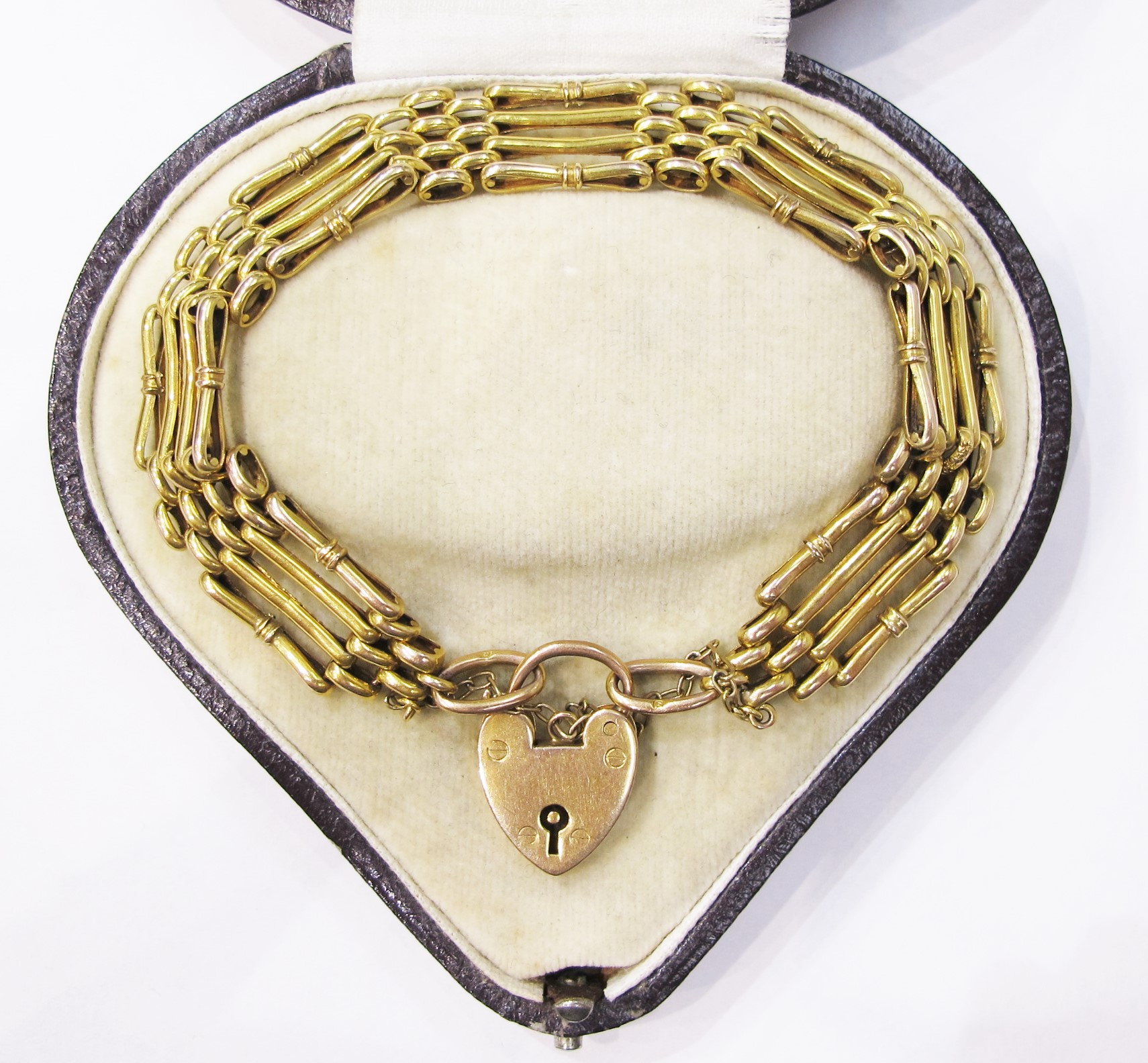 English gate bracelet in 9k yellow gold, c. 1900. Currently available at Gray & Davis.